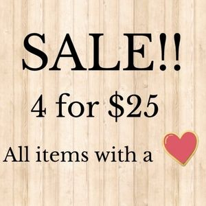 All items with a ❤ on SALE!